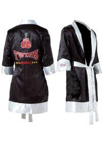 Боксерский халат черно-белый TWINS FTR-1