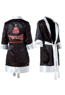 Халат для бокса черно-белый TWINS FTR-1