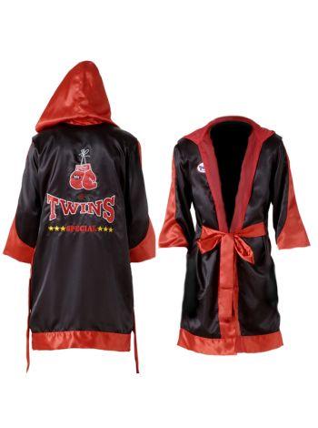 Боксерский халат черно-красный TWINS FTR-3