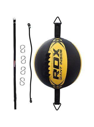 Скоростная боксерская груша RDX Boxing Leather-X черно-желтая