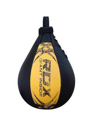 Боксерская груша RDX Leather Punching Speedball черно-желтая