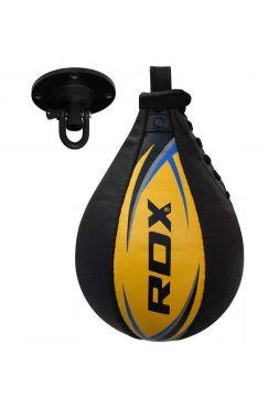 Боксерская груша RDX Cow Hide Leather черно-желтая