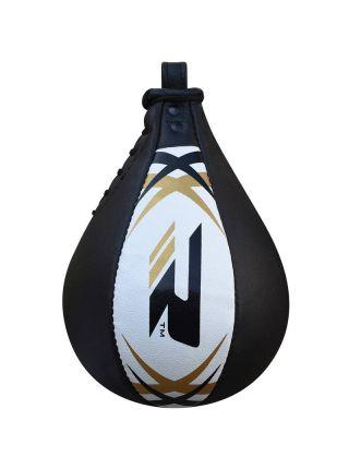 Боксерская груша RDX Leather Punching Speedball черно-белая