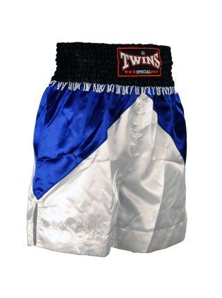 Шорты для бокса TWINS бело-синие BTS-05