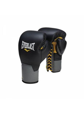 Боксерские перчатки Everlast PRO LEATHER LACED черные