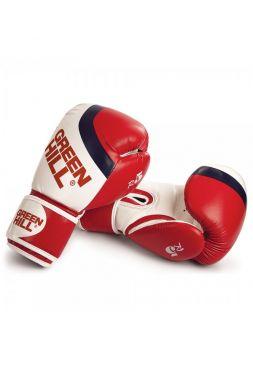 Боксерские перчатки Green Hill BOXING GLOVES R5 красно-белые