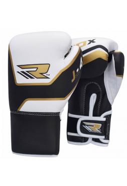 Боксерские перчатки детские RDX LEATHER-X черно-золотые