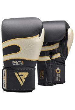 Боксерские перчатки RDX Sparring Training leather черно-серебряные