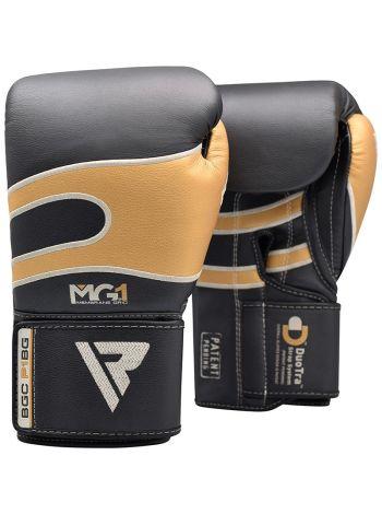 Боксерские перчатки RDX Sparring Training leather черно-золотые