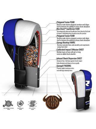 Боксерские перчатки RDX QUAD-KORE Leather синие