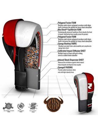 Боксерские перчатки RDX QUAD-KORE Leather красные