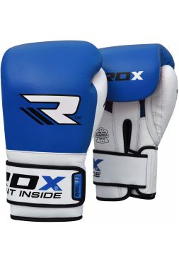 Боксерские перчатки RDX Leather Gel Tech синие