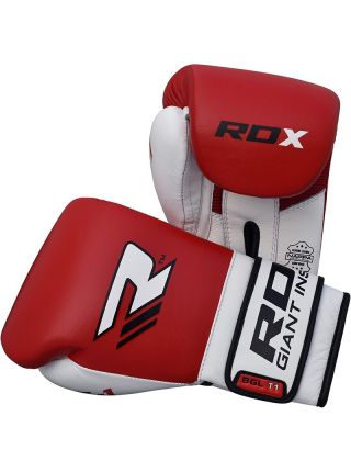Боксерские перчатки RDX Leather Gel Tech красные