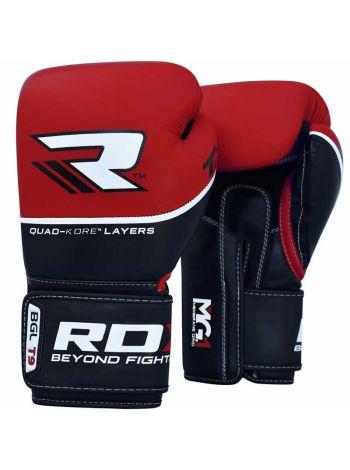 Перчатки для бокса RDX QUAD-KORE Leather красные