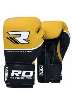 Боксерские перчатки RDX QUAD-KORE Leather желтые