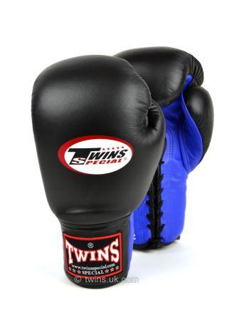 Боксерские перчатки Twins Lace-up Sparring BGLL-1 черно-синие