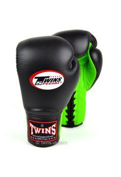 Боксерские перчатки Twins Lace-up Sparring BGLL-1 черно-зеленые