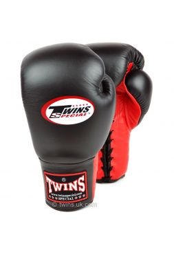 Боксерские перчатки Twins Lace-up Sparring BGLL-1 черно-красные