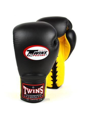 Боксерские перчатки Twins Lace-up Sparring BGLL-1 черно-желтые