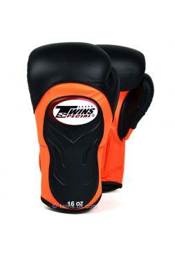 Боксерские перчатки Twins Deluxe Sparring BGVL-6 черно-оранжевые