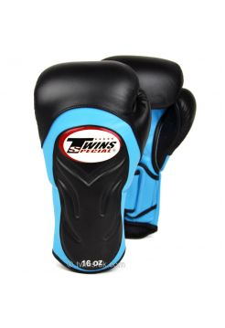 Боксерские перчатки Twins Deluxe Sparring BGVL-6 черно-голубые