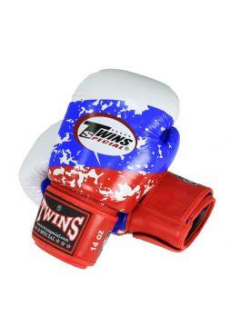 Боксерские перчатки Twins Special FBGV-44RU бело-сине-красные