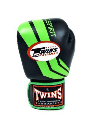 Боксерские перчатки Twins FBGV-43 черно-зеленые