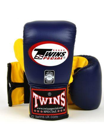 Снарядные боксерские перчатки Twins Air Flow Bag TBGL-6F сине-желтые