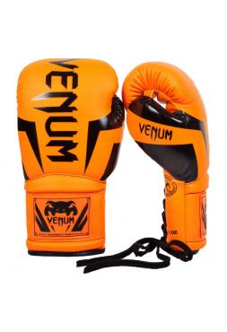 Боксерские перчатки VENUM ELITE оранжевые на шнуровке
