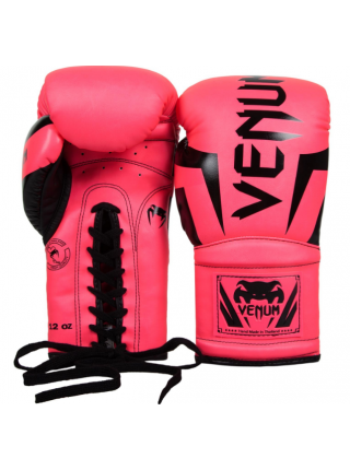 Боксерские перчатки VENUM ELITE розовые на шнуровке
