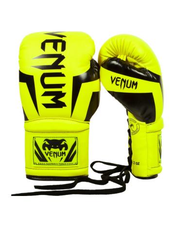 Боксерские перчатки VENUM ELITE желтые на шнуровке