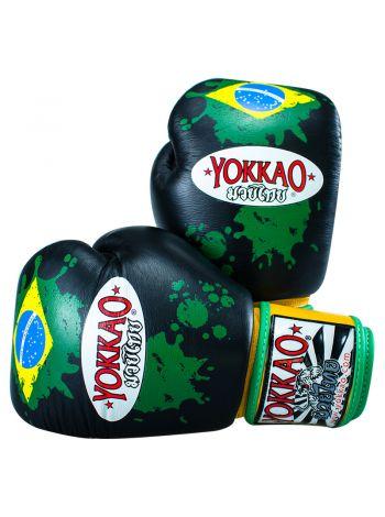 Боксерские перчатки Yokkao Brazilian Flag черные