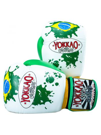 Боксерские перчатки Yokkao Brazilian Flag белые
