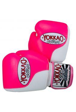 Боксерские перчатки Yokkao Double Impact бело-розовые