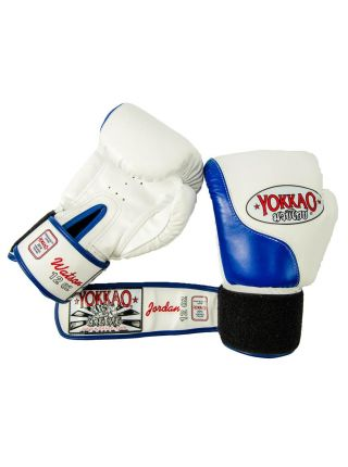 Боксерские перчатки Yokkao Double Impact сине-белые