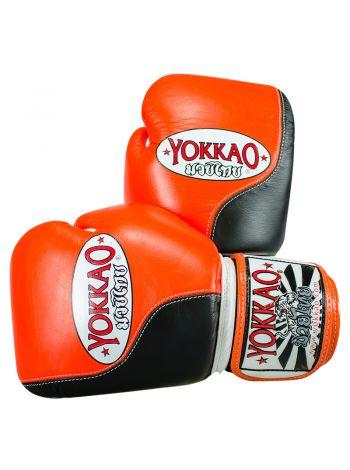 Боксерские перчатки Yokkao Double Impact черно-оранжевые