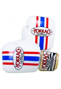 Боксерские перчатки Yokkao Thai Flag бело-сине-красные