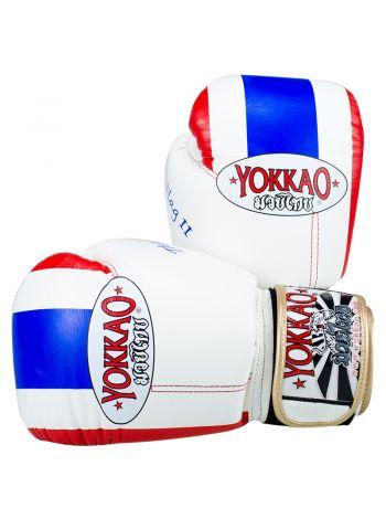 Боксерские перчатки Yokkao Thai Flag бело-синие