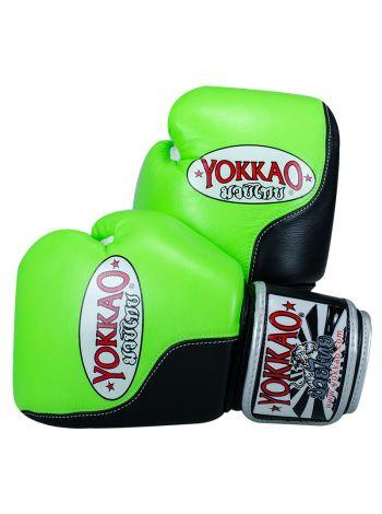 Боксерские перчатки Yokkao Double Impact черно-зеленые