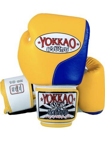 Боксерские перчатки Yokkao Double Impact желто-синие