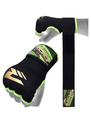 Перчатки бинты RDX Inner Gloves Wrist Strap Training черно-зеленые