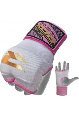 Перчатки бинты RDX Ladies Inner Gloves бело-розовые