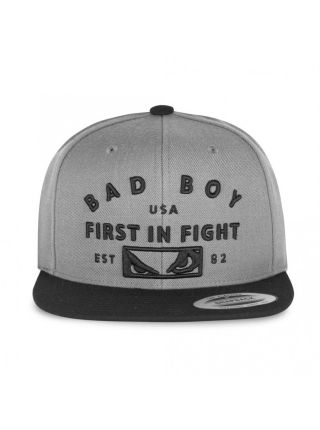 Кепка BAD BOY FIRST IN FIGHT серая