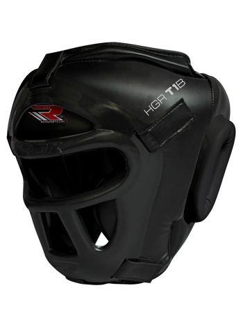 Боксерский шлем RDX Zero Impact Grill-X Leather черный