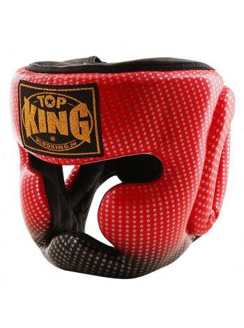 Шлем для бокса Top King Super Star красно-черный со звездами