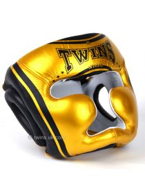 Боксерский шлем TWINS черно-золотой FHG-TW4 на липучке