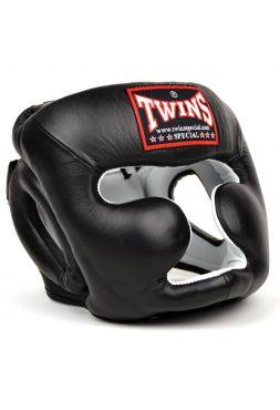 Боксерский шлем TWINS HGL-3 черный на липучке