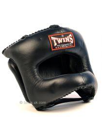 Боксерский шлем TWINS HGL-9 черный на липучке