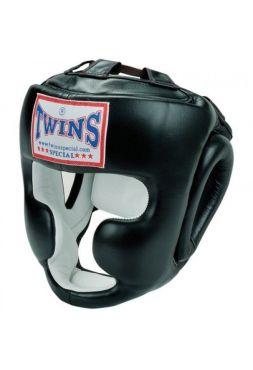 Боксерский шлем TWINS HGL-3 черный c защитой подбородка