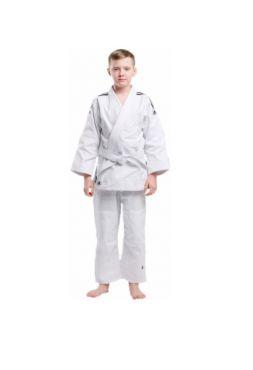 Кимоно для дзюдо с поясом подростковое Adidas CLUB белое с черными полосками